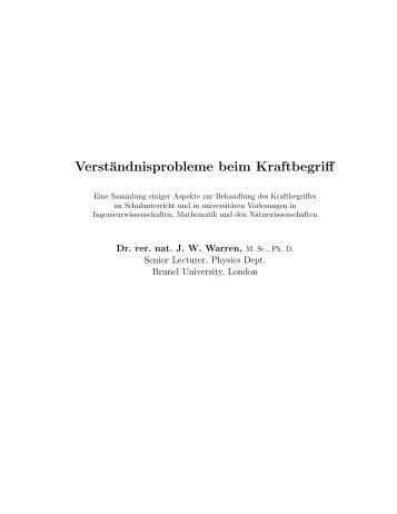 Verständnisprobleme beim Kraftbegriff - Didaktik der Physik