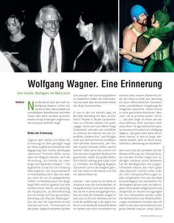 Wolfgang Wagner. Eine Erinnerung - Die Deutsche Bühne