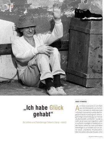 """""""Ich habe Glück gehabt"""" - Die Deutsche Bühne"""