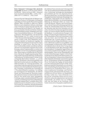 320 Buchbesprechung DIE ERDE Kant, Immanuel: Vorlesungen ...