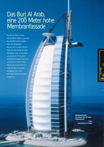 Das Burj Al Arab, eine 200 Meter hohe Membranfassade