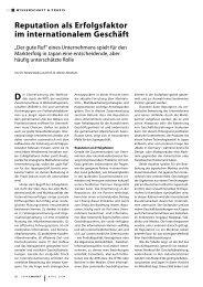 Reputation als Erfolgsfaktor im internationalem Geschäft - DIJ
