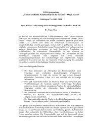 Wissenschaftliche Kommunikation der Zukunft – Open Access - DINI