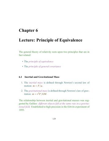 Chapter 6 Lecture: Principle of Equivalence