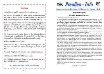 Achtung Liebe Männer und Frauen aus Bochum Grumme, wir ...