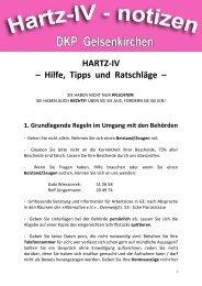 Allgemeine Tipps, Hinweise und Hilfen für Hartz-IV-Betroffene