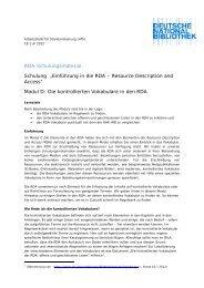 """""""Einführung in die RDA – Resource Description and Access"""" Modul D"""