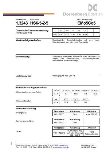 Werkstoffdatenblatt 1.3243 Dörrenberg Edelstahl ... - Doerrenberg.de