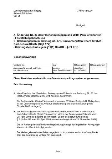 A. Änderung Nr. 23 des Flächennutzungsplans 2010 ... - Stuttgart