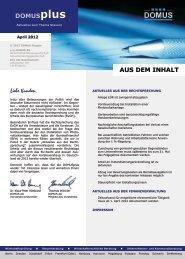 AUS DEM INHALT DOMUSplus - Domus AG