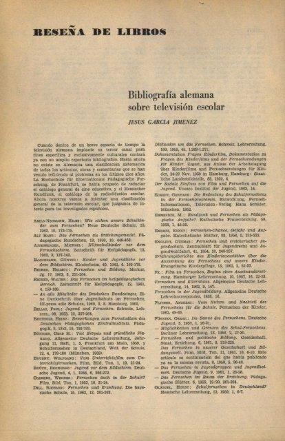 Bibliografía alemana sobre televisión escolar