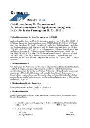 Gebührenordnung für Parkuhren und ... - Stadt Dormagen