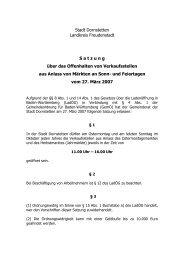 1.3 Satzung über das Offenhalten von Verkaufsstellen ... - Dornstetten