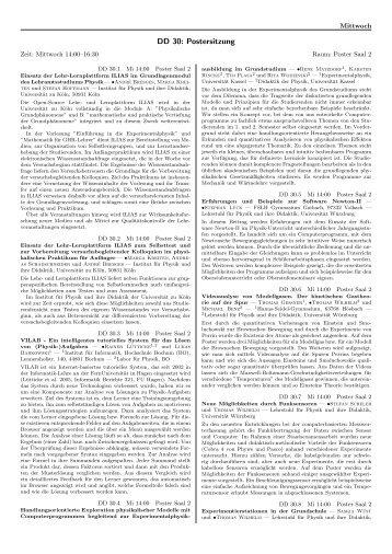 DD 30: Postersitzung - DPG-Verhandlungen