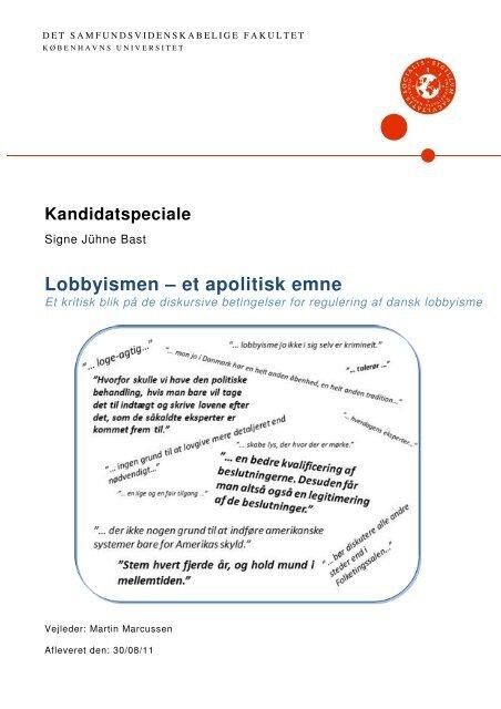 Lobbyismen – et apolitisk emne - Dr