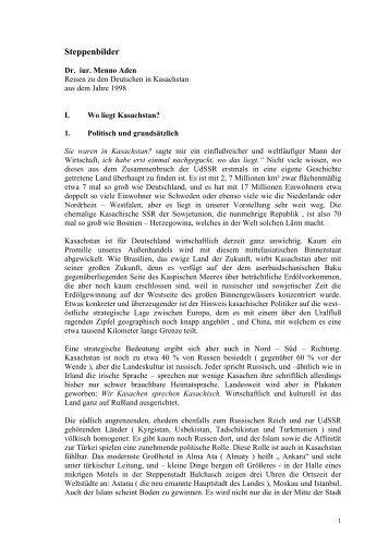 Steppenbilder - auf der Netzseite von Prof. Dr. iur. Menno Aden