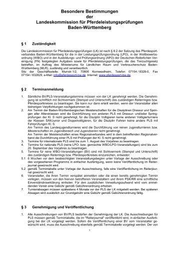 Besondere Bestimmungen für Baden-Württemberg - Dressur Aktuell