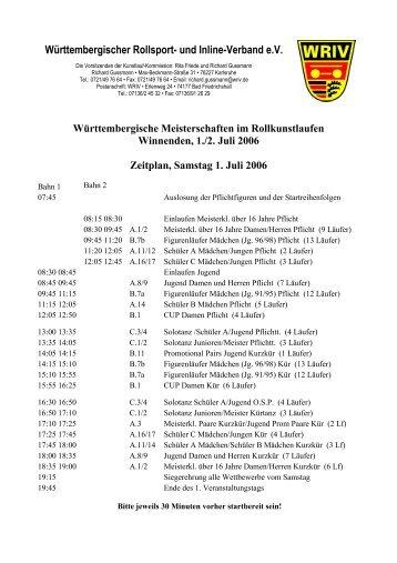 Zeitplan - Deutscher Rollsport- und Inline-Verband e.V.