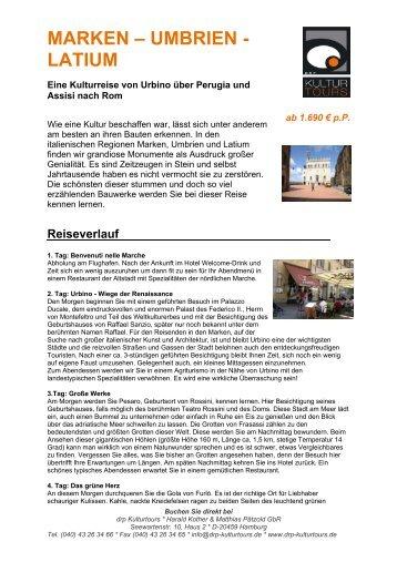 MARKEN – UMBRIEN - LATIUM - Kulturtours