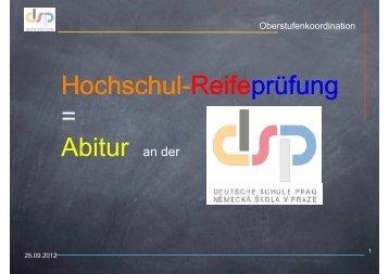 Infos zum Abitur an der DSP - Deutsche Schule Prag