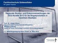 und Einkommenswirkungen der EEG-Novelle ... - auf Haus Düsse