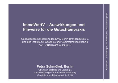 ImmoWertV – Auswirkungen und Hinweise für die ... - DVW
