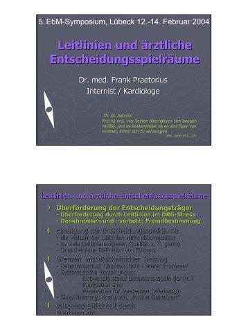Leitlinien und ärztliche Entscheidungsspielräume - Deutsches ...