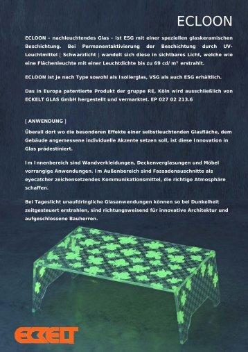 Prospekt ECLOON [PDF] - Eckelt Glas GmbH