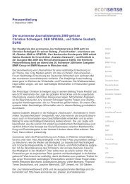 Pressemitteilung Der econsense-Journalistenpreis 2009 geht an ...