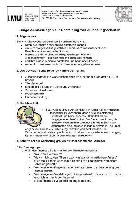 Informationen Zur Gestaltung Von Zulassungsarbeiten Department
