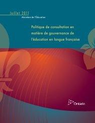 Politique de consultation en matière de gouvernance de l'éducation ...