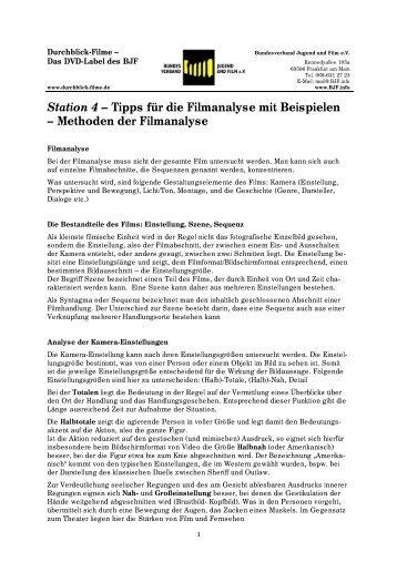 Station 4 – Tipps für die Filmanalyse mit Beispielen – Methoden der ...