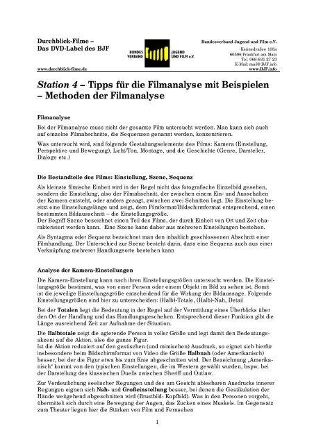 Station 4 Tipps Fur Die Filmanalyse Mit Beispielen