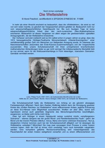 Noch immer unerledigt: Die Welteislehre (H. Friedrich) - EFODON eV