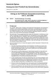 Gemeinde Eglisau Auszug aus dem Protokoll des Gemeinderates ...