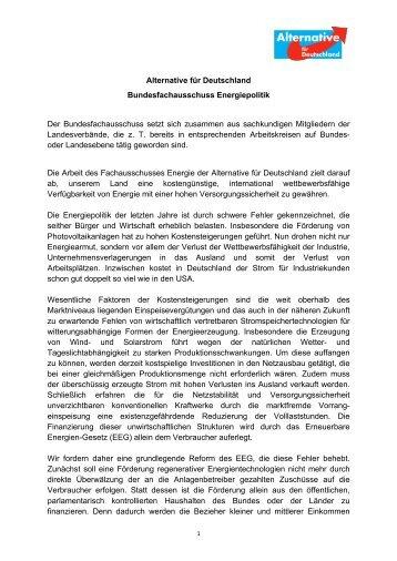 Alternative für Deutschland Bundesfachausschuss ... - EIKE