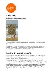 Apartheid - für EINE WELT - EINE WELT für alle