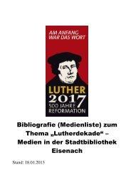 Bibliographie zu Martin Luther und zum ... - Eisenach