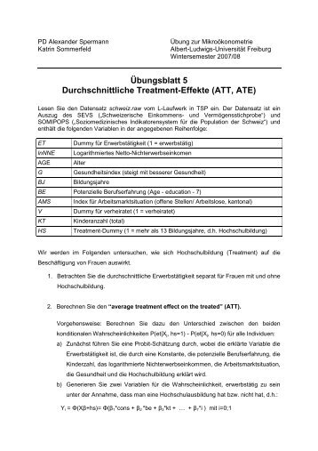 Übungsblatt 5 Durchschnittliche Treatment-Effekte (ATT, ATE)