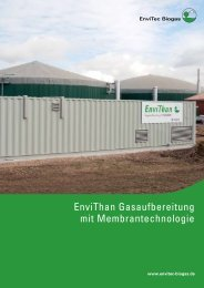 EnviThan Gasaufbereitung mit Membrantechnologie - EnviTec Biogas