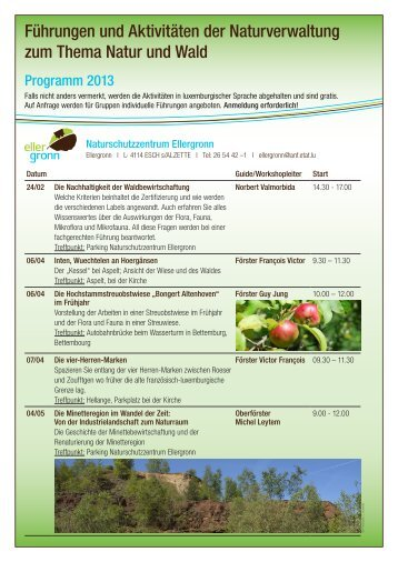 Führungen und Aktivitäten der Naturverwaltung zum Thema Natur ...