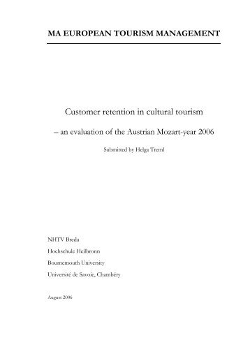 Customer retention in cultural tourism