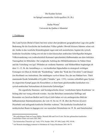 Die Kurden Syriens im Spiegel osmanischer Archivquellen (18. Jh ...