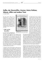 Kafka, der Stummfilm, Humor, Heinz Politzer, Mäuse, Affen und ...