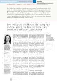 DHA im Plasma vier Monate alter Säuglinge in Abhängigkeit von ...