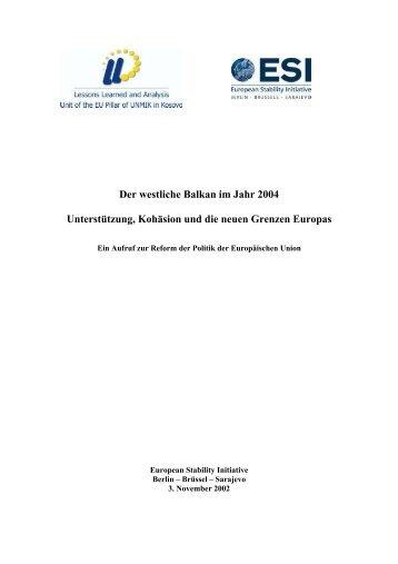 Der westliche Balkan im Jahr 2004 Unterstützung, Kohäsion und die ...