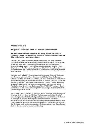 IPC@CHIP® unterstützt EtherCAT Echtzeit Kommunikation