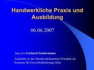 Handwerkliche Praxis und Ausbildung - ETI-Brandenburg