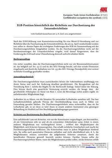 EGB-Position hinsichtlich der Richtlinie zur Durchsetzung ... - ETUC