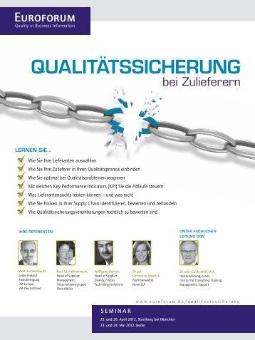 QUALITäTSSICHERUNG - Euroforum